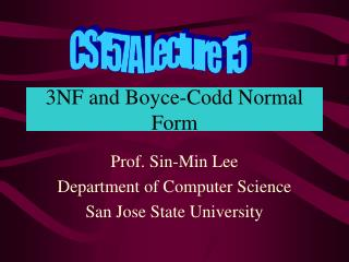 3NF and Boyce-Codd Normal Form