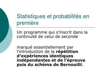 Statistiques et probabilit s en premi re