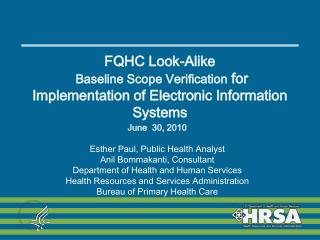 FQHC Look-Alike   Baseline Scope Verification for Implementation of Electronic Information Systems