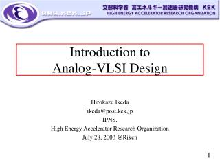 Introduction to Analog-VLSI Design