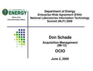 Department of Energy Enterprise-Wide Agreement EWA  National Laboratories Information Technology Summit NLIT 2009