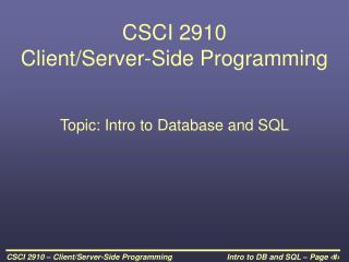 CSCI 2910  Client
