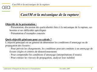 Cast3M et la m canique de la rupture
