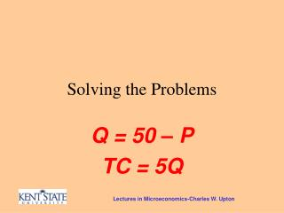 Solving the Problems