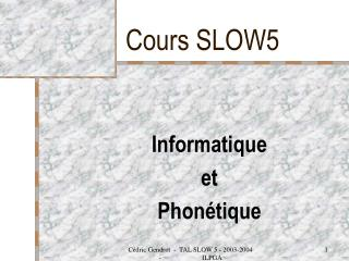 Cours SLOW5