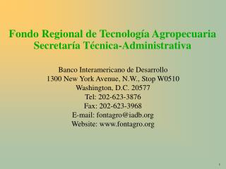 Fondo Regional de Tecnolog a Agropecuaria Secretar a T cnica-Administrativa