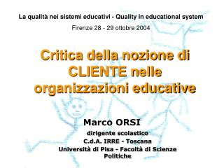 Critica della nozione di CLIENTE nelle organizzazioni educative