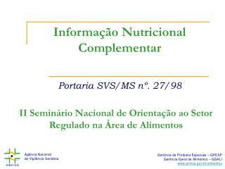Informa  o Nutricional Complementar