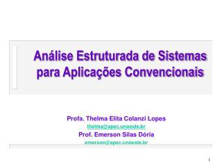 An lise Estruturada de Sistemas para Aplica  es Convencionais