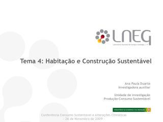 Tema 4: Habita  o e Constru  o Sustent vel