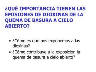 QU  IMPORTANCIA TIENEN LAS EMISIONES DE DIOXINAS DE LA QUEMA DE BASURA A CIELO ABIERTO