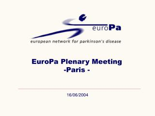 EuroPa Plenary Meeting -Paris -