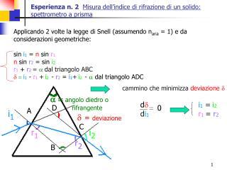 Esperienza n. 2  Misura dell indice di rifrazione di un solido: spettrometro a prisma