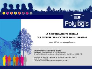 LA RESPONSABILITE SOCIALE  DES ENTREPRISES SOCIALES POUR L HABITAT