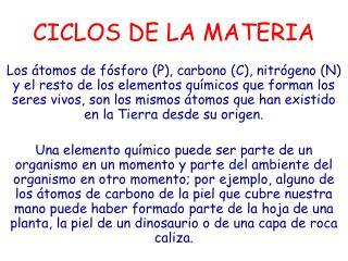 CICLOS DE LA MATERIA