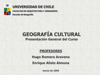 GEOGRAF A CULTURAL Presentaci n General del Curso