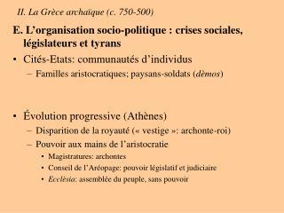 II. La Gr ce archa que c. 750-500