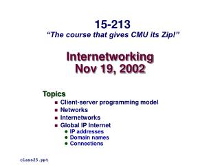 Internetworking Nov 19, 2002