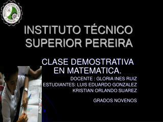INSTITUTO T CNICO SUPERIOR PEREIRA