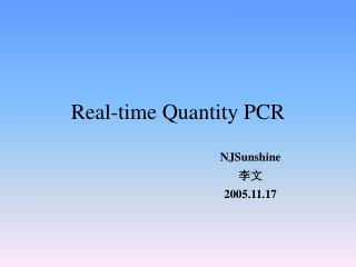 Real-time Quantity PCR