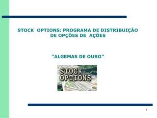 STOCK  OPTIONS: PROGRAMA DE DISTRIBUI  O DE OP  ES DE  A  ES     ALGEMAS DE OURO