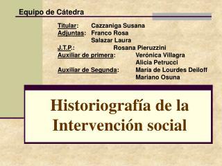 Historiograf a de la Intervenci n social
