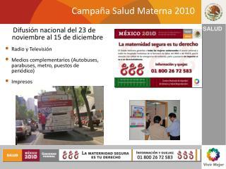 Campa a Salud Materna 2010