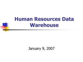 Human Resources Data Warehouse