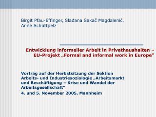 Entwicklung informeller Arbeit in Privathaushalten   EU-Projekt  Formal and informal work in Europe