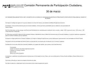 Comisi n Permanente de Participaci n Ciudadana,   30 de marzo