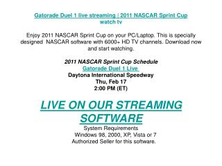 Gatorade Duel 1 live streaming | 2011 NASCAR Sprint Cup | wa