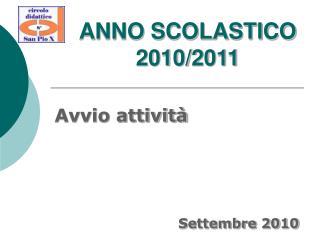 ANNO SCOLASTICO 2010