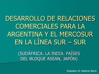 DESARROLLO DE RELACIONES COMERCIALES PARA LA ARGENTINA Y EL MERCOSUR EN LA L NEA SUR   SUR