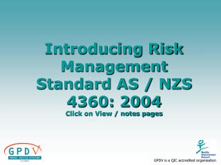 Introducing Risk Management Standard AS