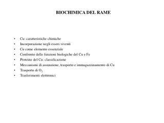 BIOCHIMICA DEL RAME