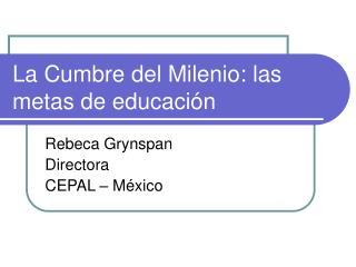 La Cumbre del Milenio: las metas de educaci n