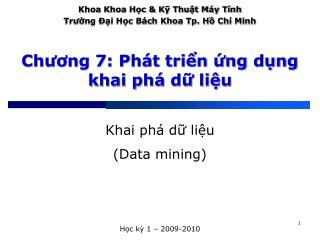 Chuong 7: Ph t trin ng dng khai ph  d liu