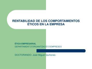 RENTABILIDAD DE LOS COMPORTAMIENTOS  TICOS EN LA EMPRESA