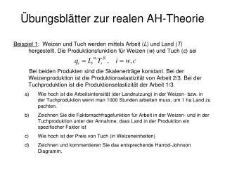 bungsbl tter zur realen AH-Theorie
