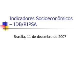 Indicadores Socioecon micos   IDB