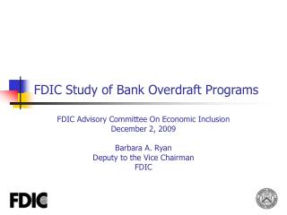 FDIC Study of Bank Overdraft Programs