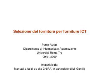 Selezione del fornitore per forniture ICT