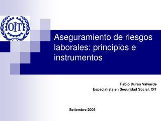 Aseguramiento de riesgos laborales: principios e instrumentos
