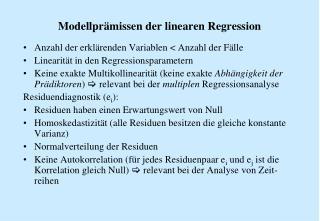 Modellpr missen der linearen Regression