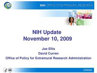 NIH Update   November 10, 2009