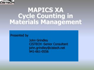 MAPICS XA  Cycle Counting in  Materials Management