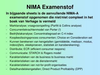 NIMA Examenstof