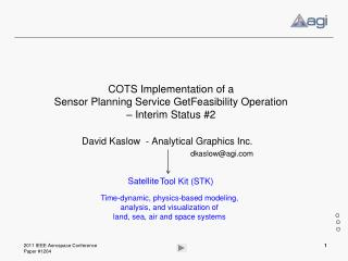 COTS Implementation of a  Sensor Planning Service GetFeasibility Operation   Interim Status 2