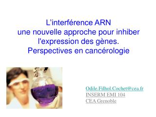 L interf rence ARN une nouvelle approche pour inhiber lexpression des g nes.  Perspectives en canc rologie