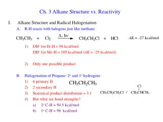 Ch. 3 Alkane Structure vs. Reactivity